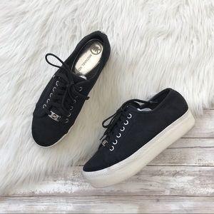 Michael Kors Black Canvas Chunky Platform Sneakers